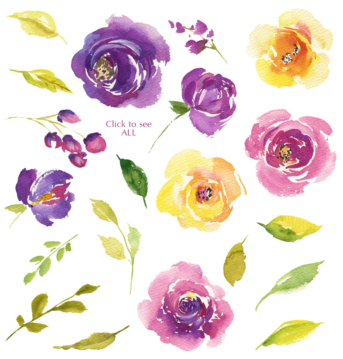 Bright Watercolor Purple and Yellow Roses Flowers PNG example image 3