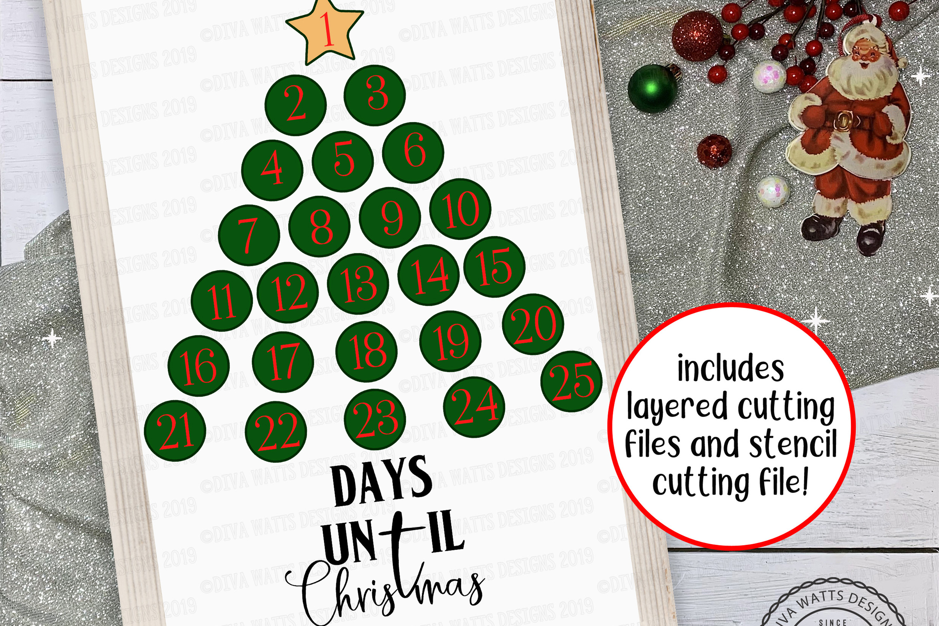 Christmas Advent Calendar Tree With Star Cutting File example image 1