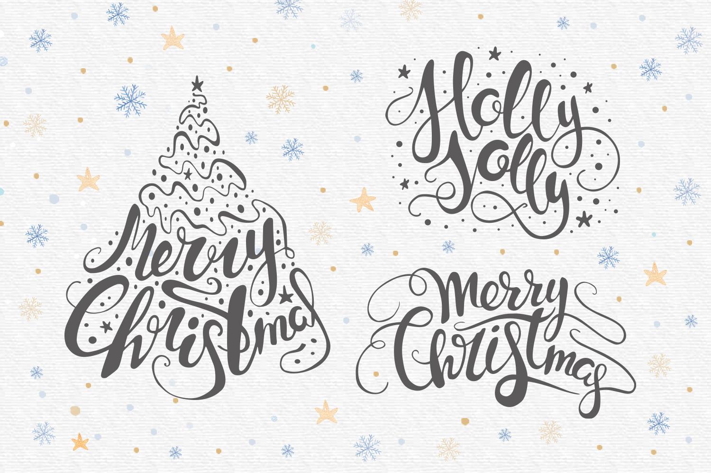 Vector Christmas lettering + bonus example image 3