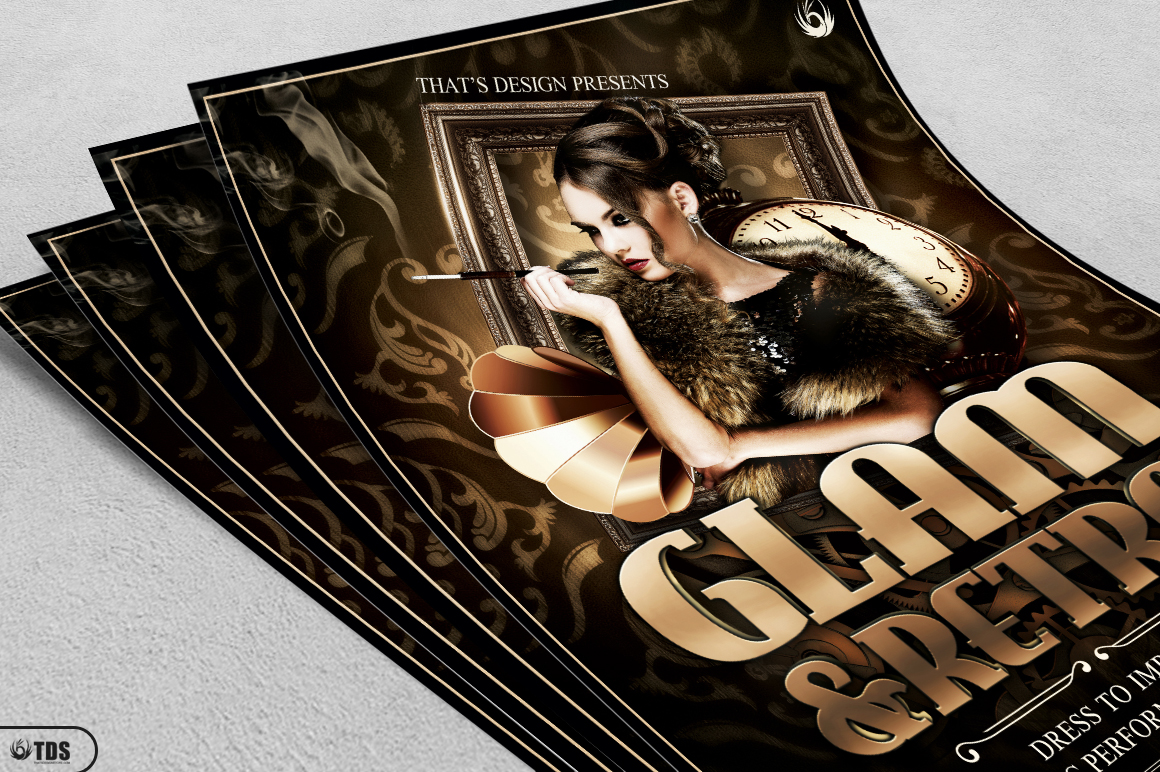 Retro Glam Flyer Template V2 example image 3