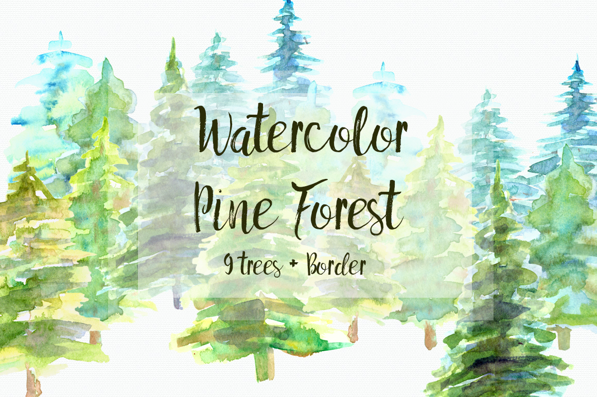 Watercolor Pine Trees Clip Art example image 1