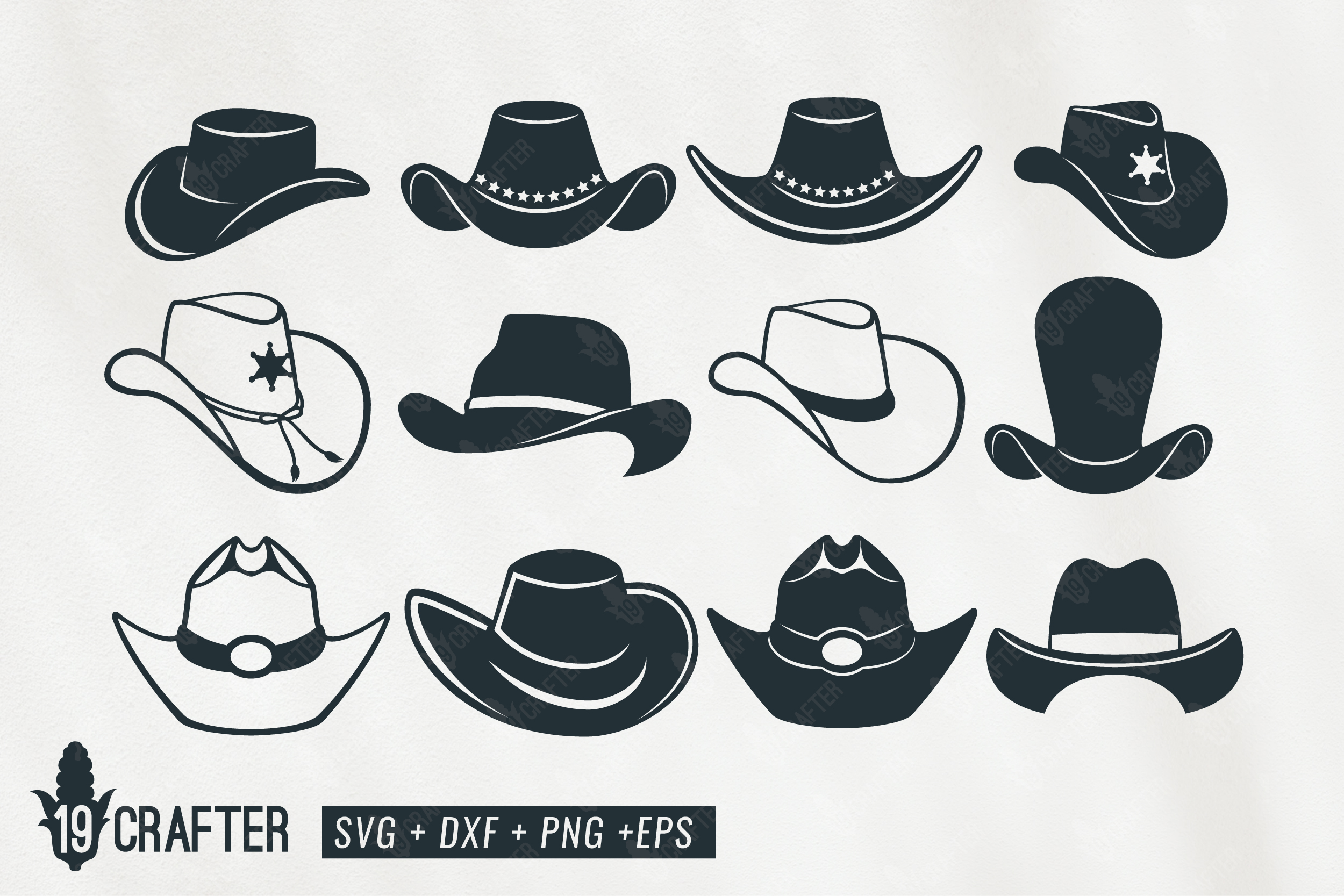 cowboy hat clipart svg bundle example image 1