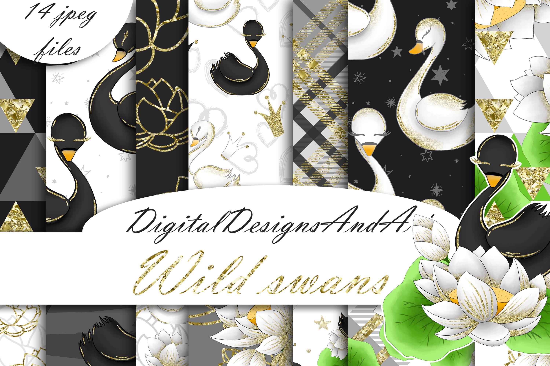 Swans digital paper example image 1