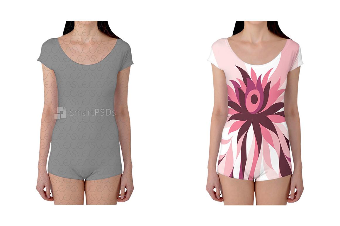 Boyleg Leotard Dress Design Mockup of Sublimation Cloth Printing - 2 Views example image 1