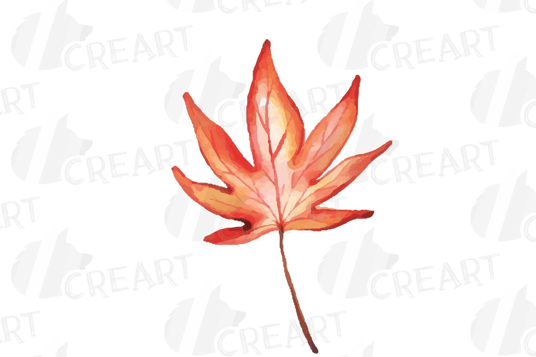 Printable autumn leaves watercolor decoration clip art pack. example image 11