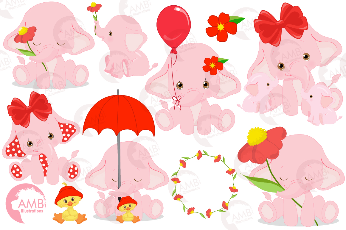 ELEPHANT babies in pink! BUNDLE! 53 cliparts, graphics and illustrations and Patterns AMB-2276 example image 4