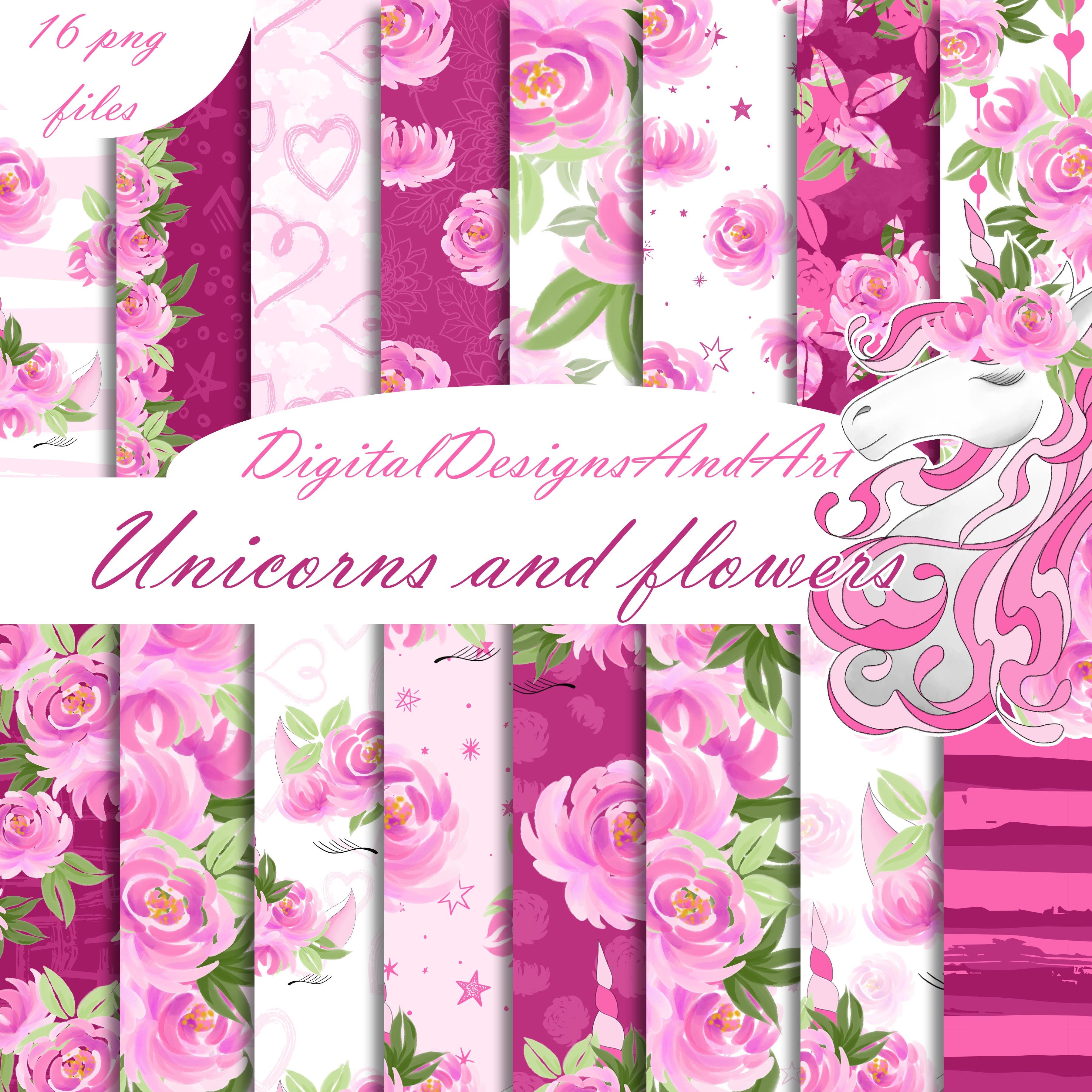Unicorns and flowers in pink example image 1