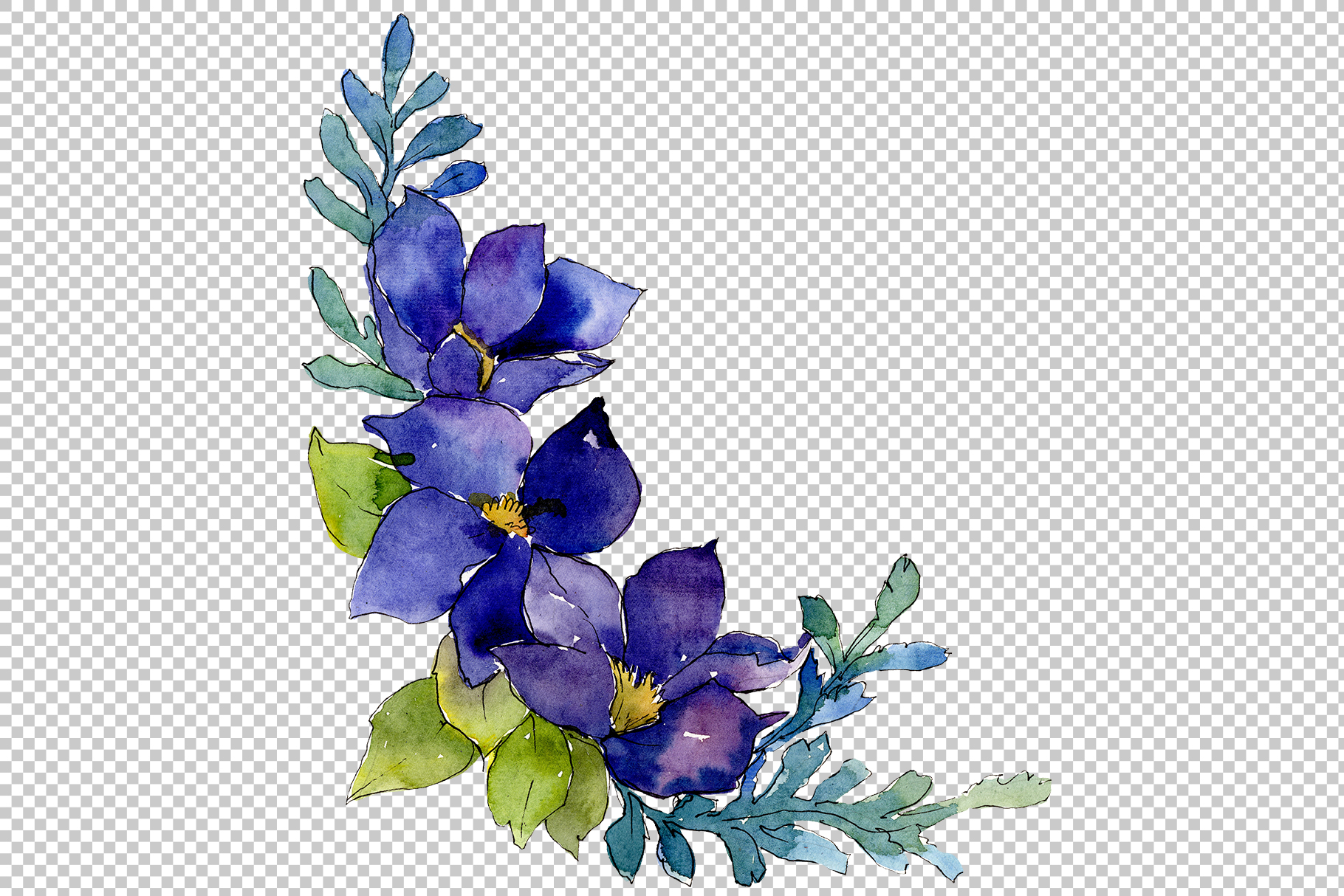 Bouquet Sunny mood watercolor png example image 2