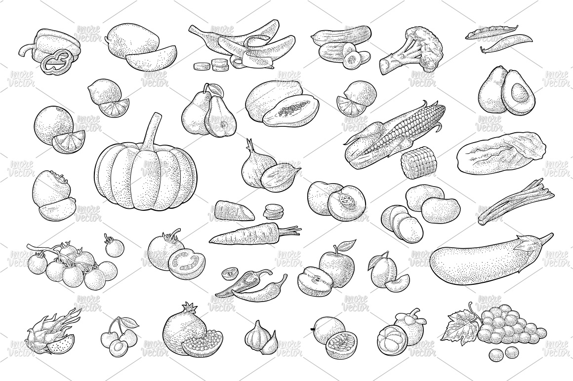 Farmers market. Set vegetables and fruits. Vector engraving example image 4