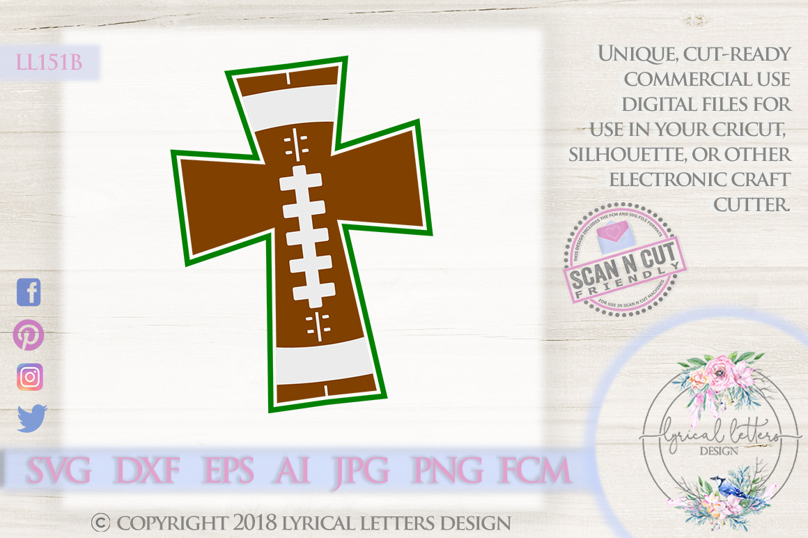 Football Cross SVG DXF Cut File LL151B example image 1