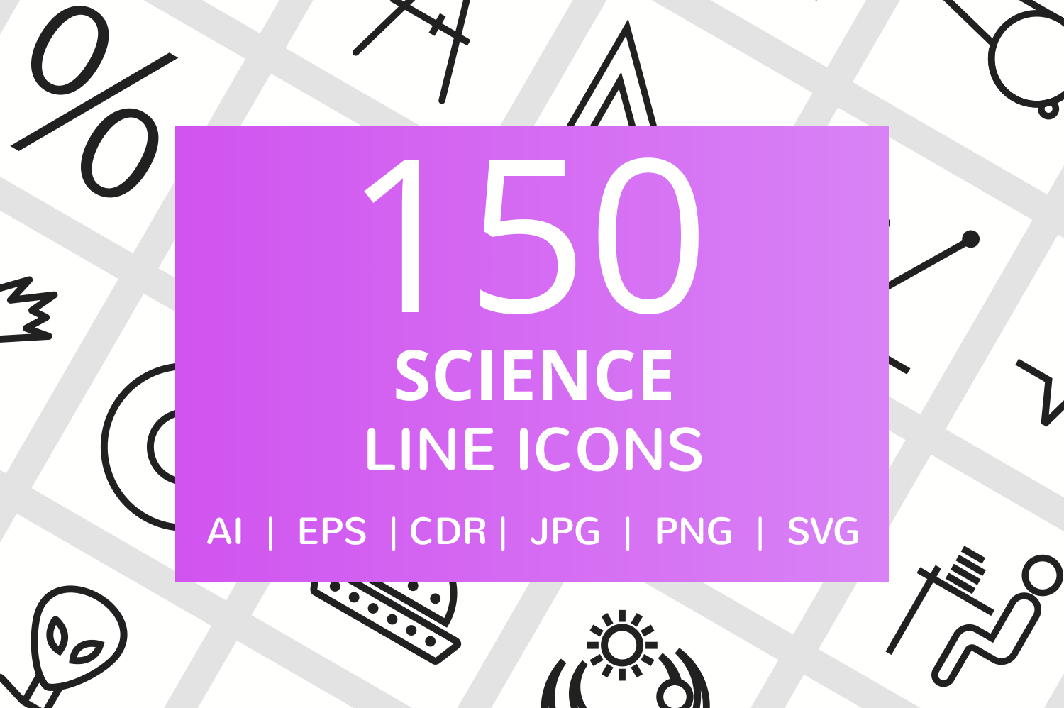150 Science Line Icons example image 1