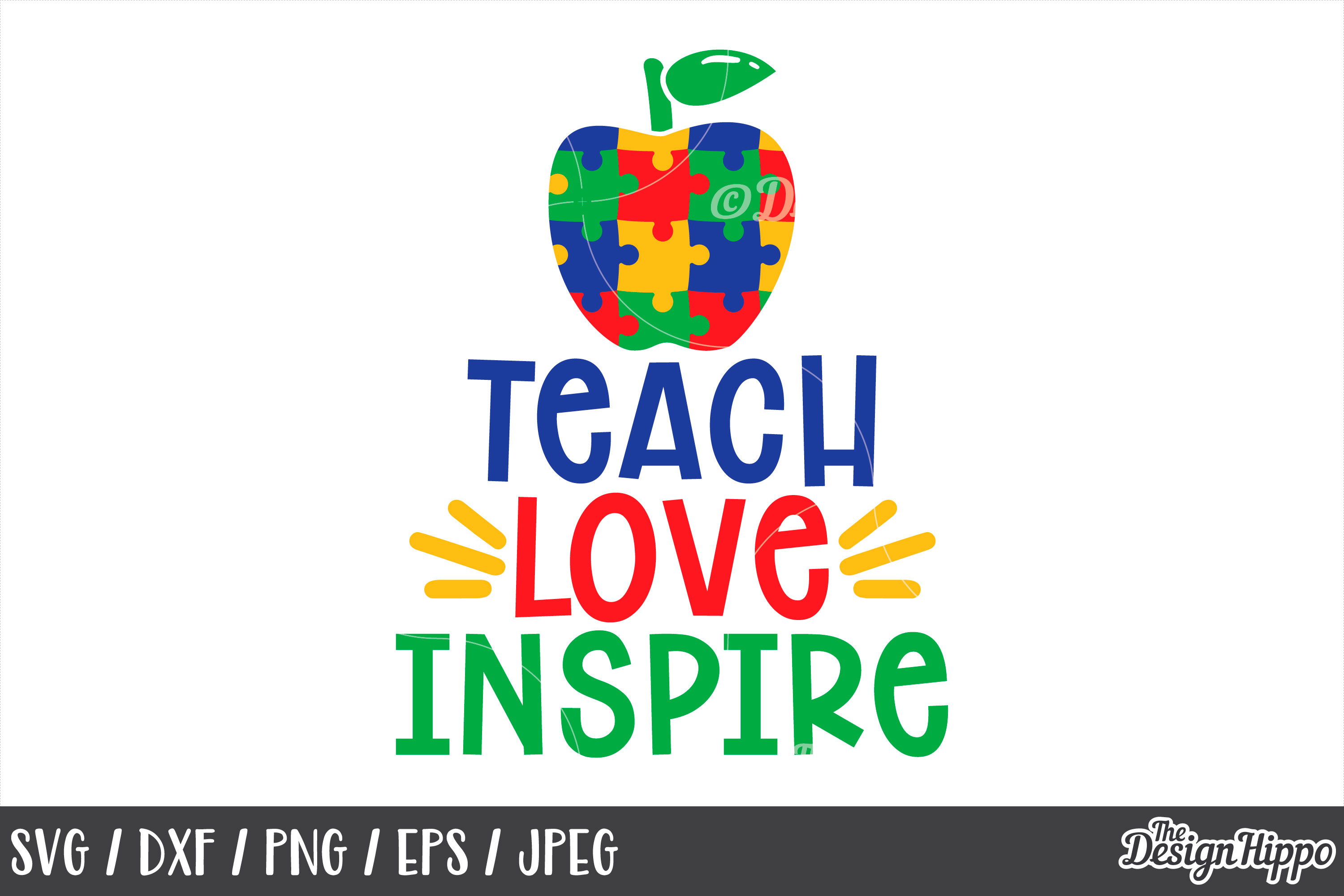 Autism Teacher, Teach Love Inspire, Apple, SVG DXF PNG Files example image 1