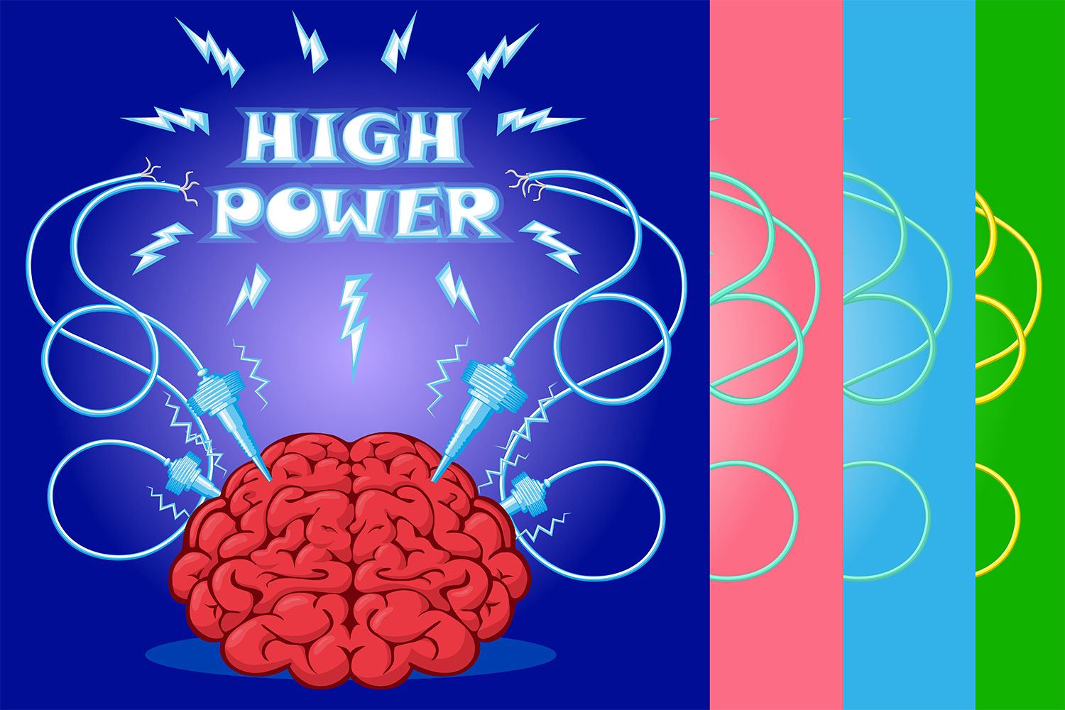 Set of poster: brain with electrodes energized.  Vector illustration. example image 1