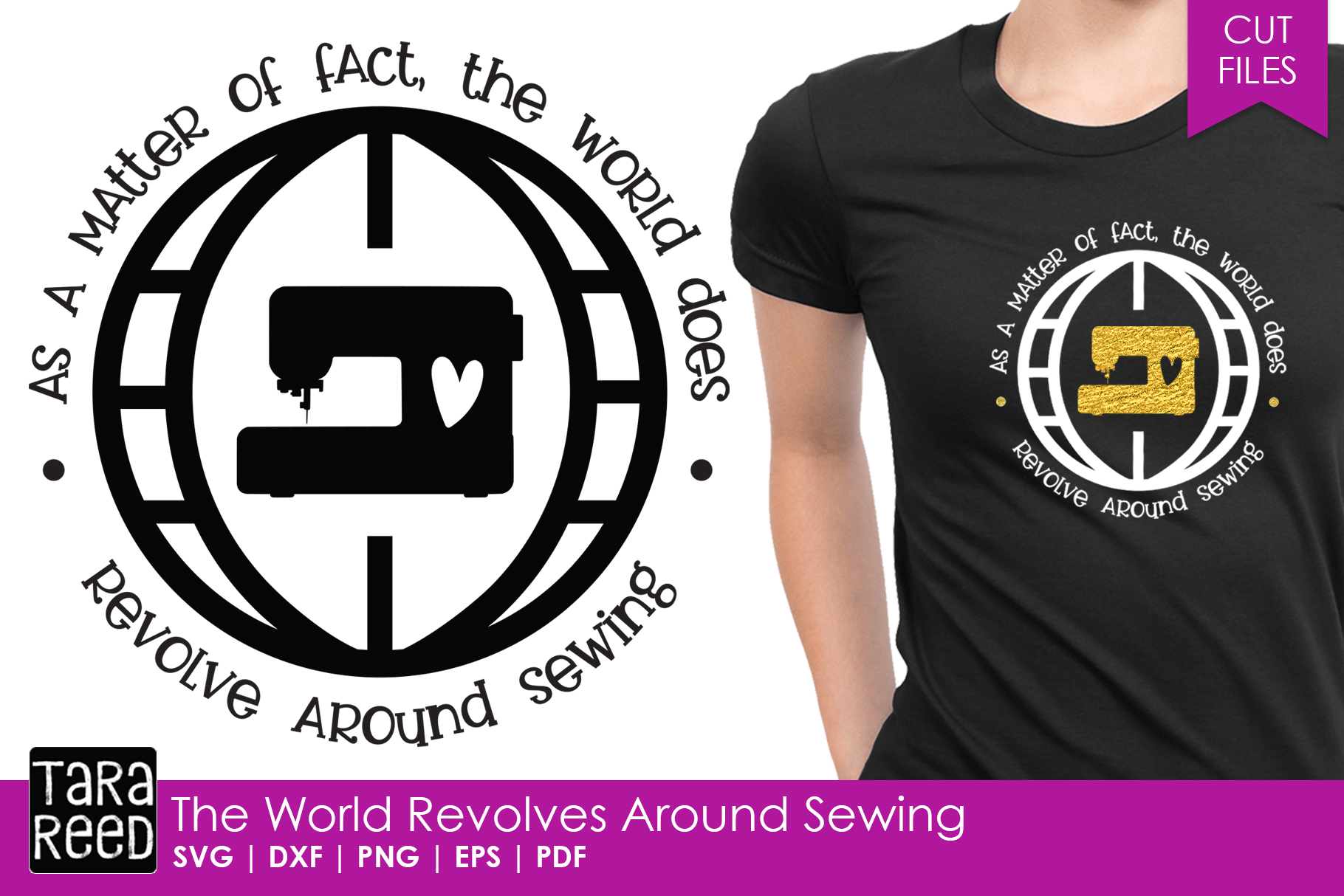 The World Revolves Around Sewing - Sewing SVG and Cut Files example image 1