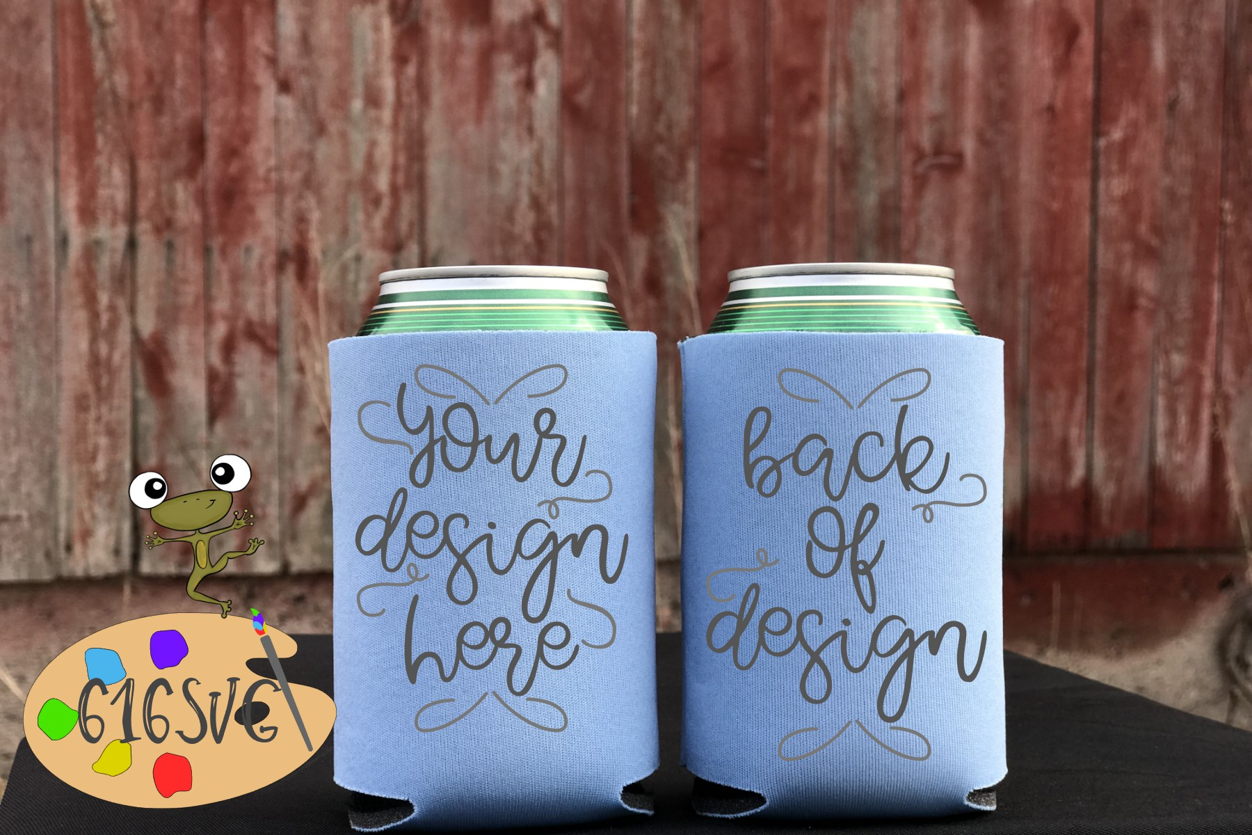 Placid Blue Can Cooler Mockup example image 2