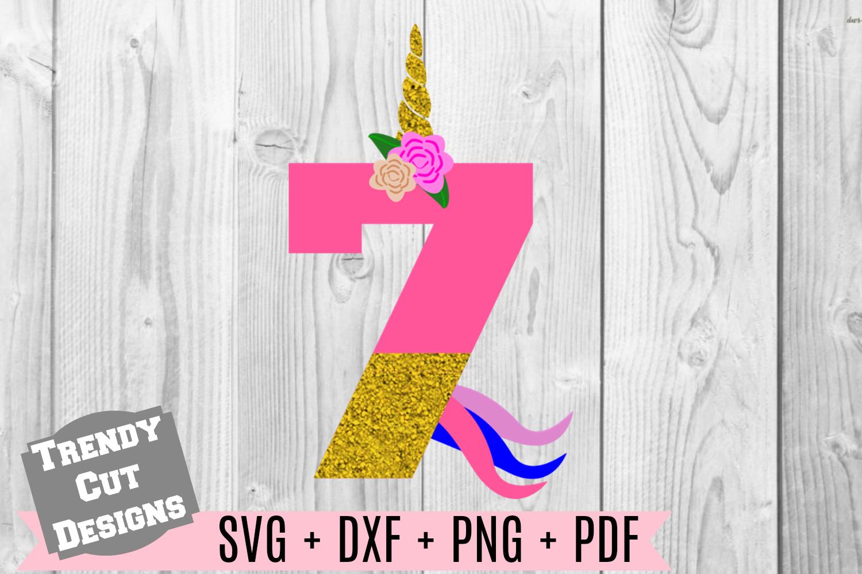 Bundle, Unicorn Number Birthday Set SVG example image 8