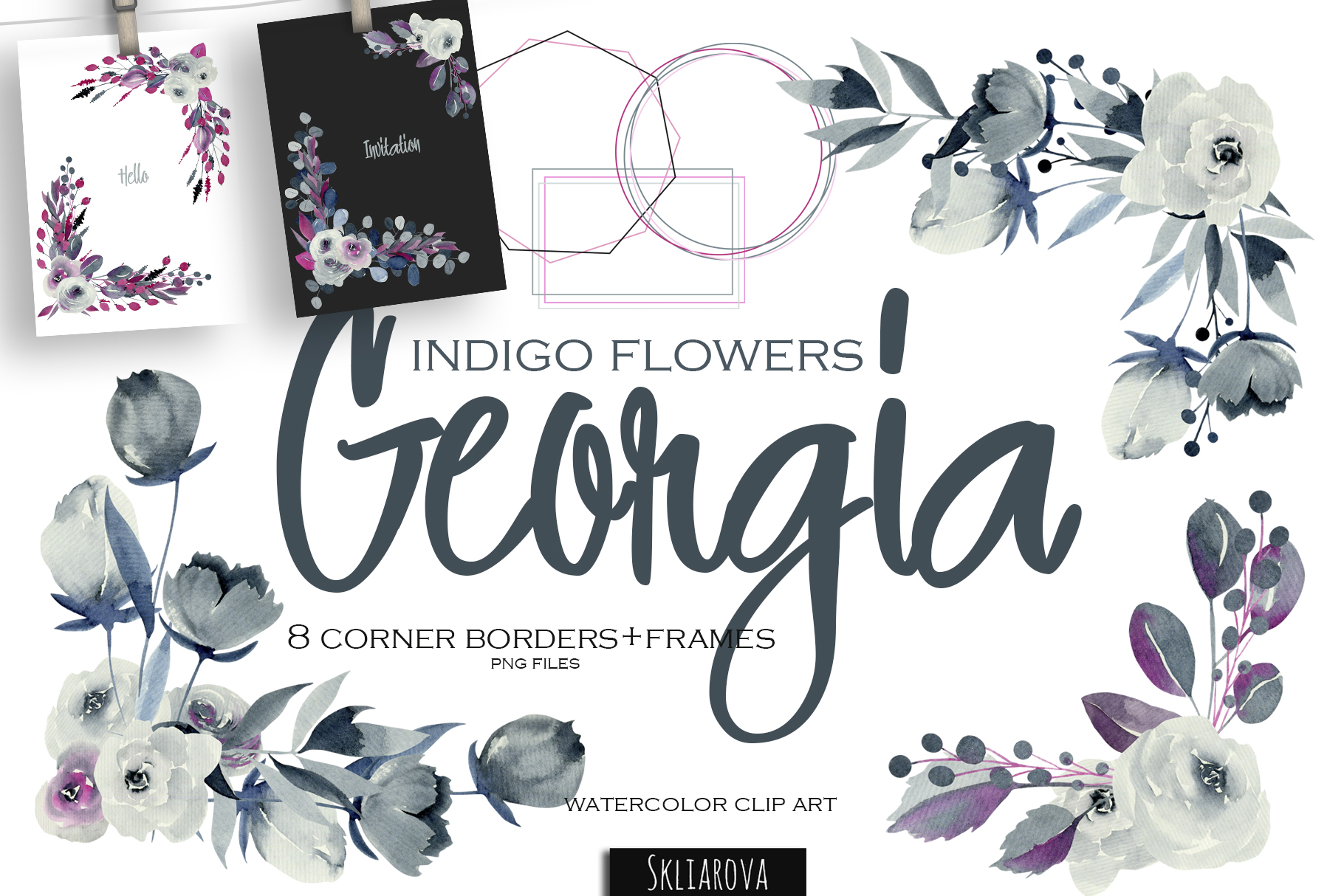 Georgia. Indigo corner borders set. example image 1