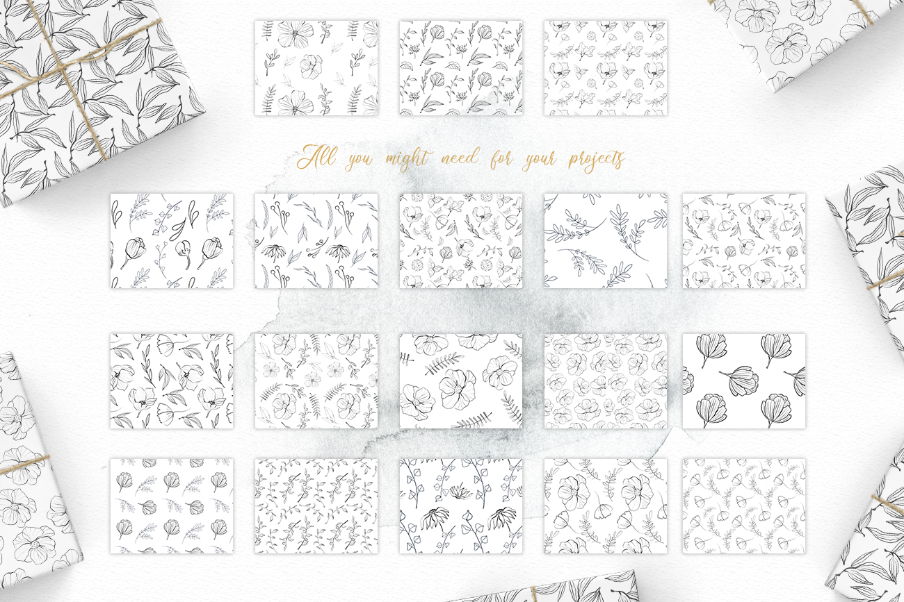 Flower and leaves sketch patterns, Seamless backgrounds example image 4