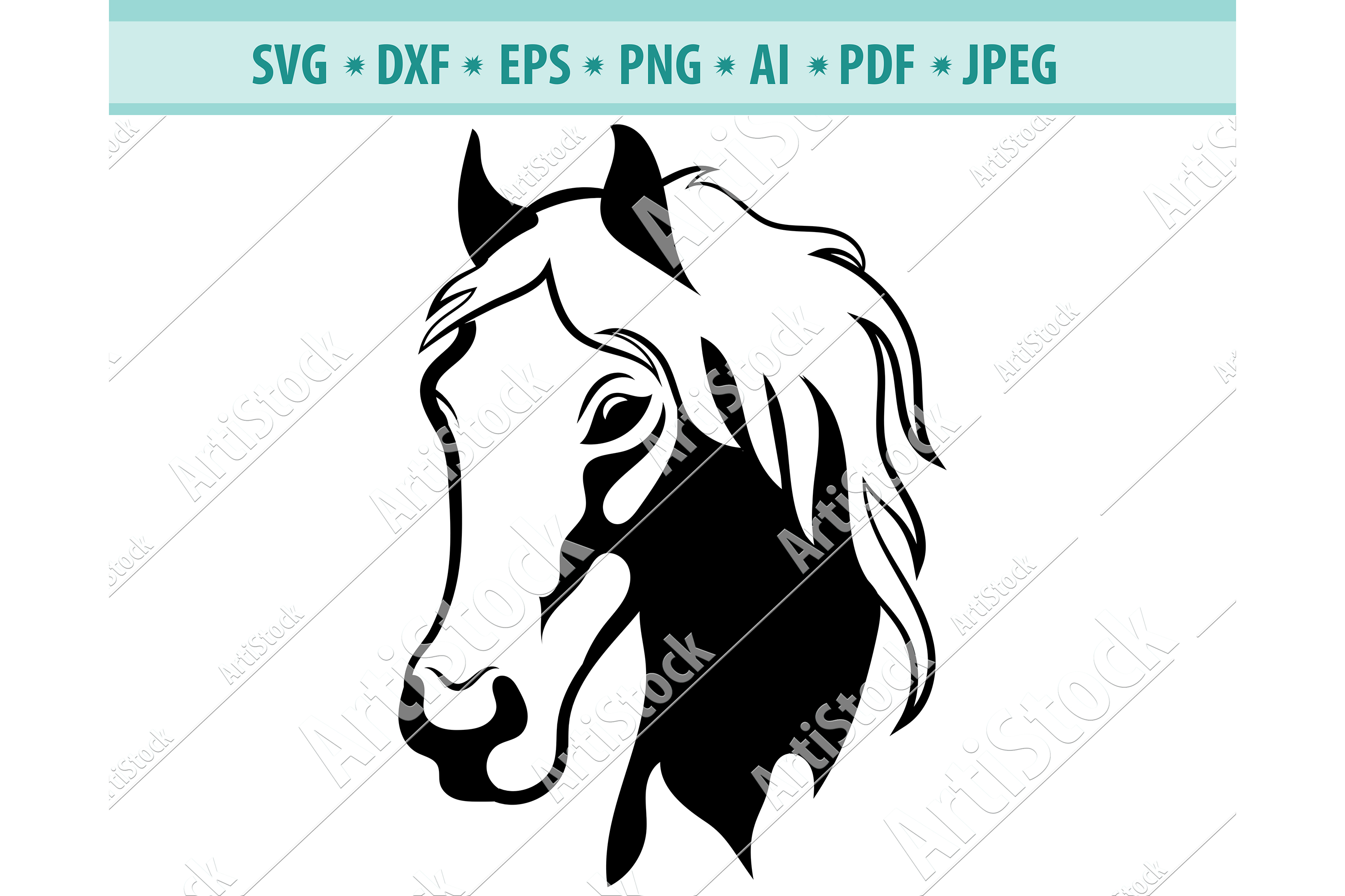 HORSE SVG, MUSTANG svg, Horse head clipart Dxf, Png, Eps example image 1