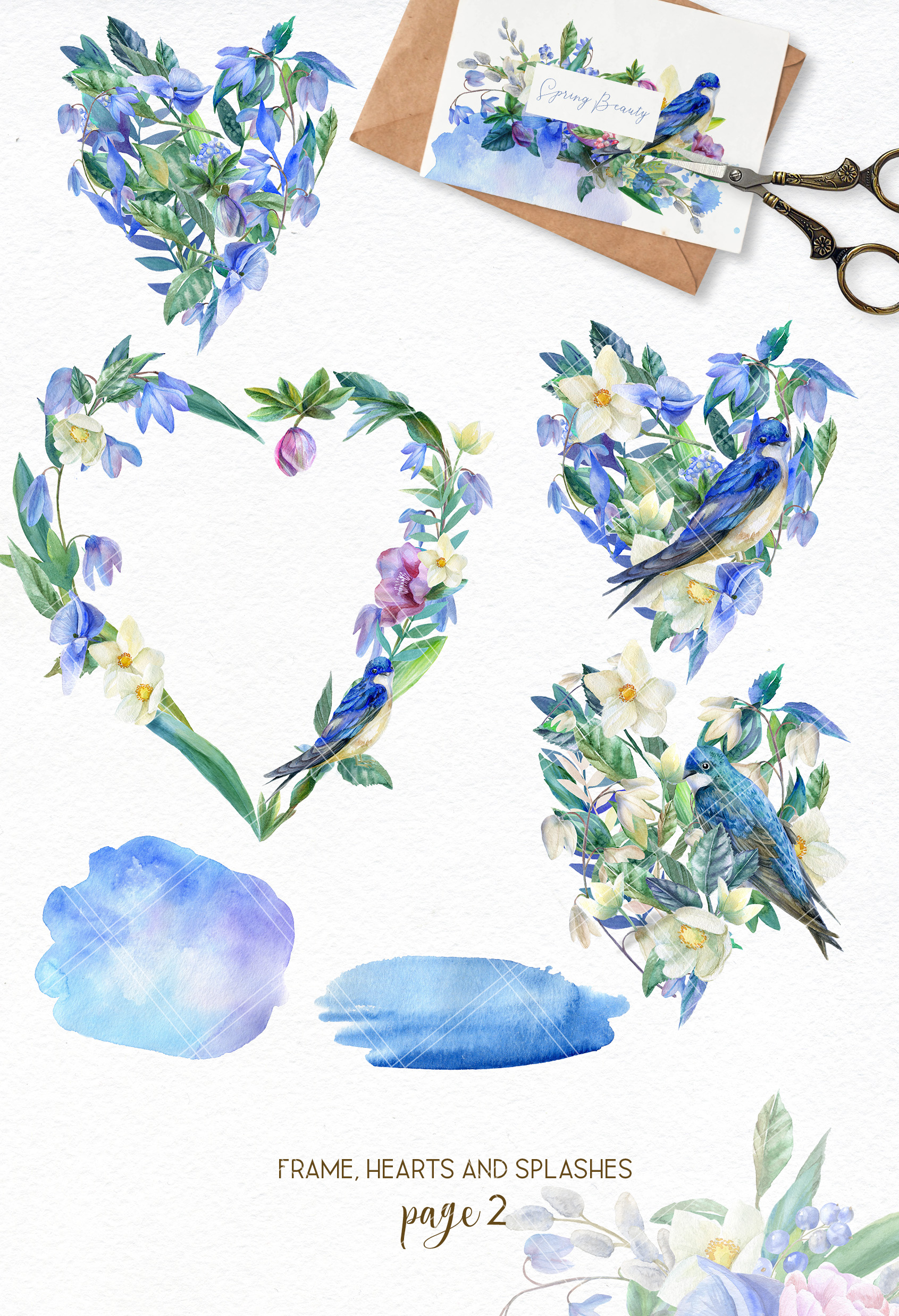 Watercolor spring bouquets clipart, wildflower heart wreath example image 3
