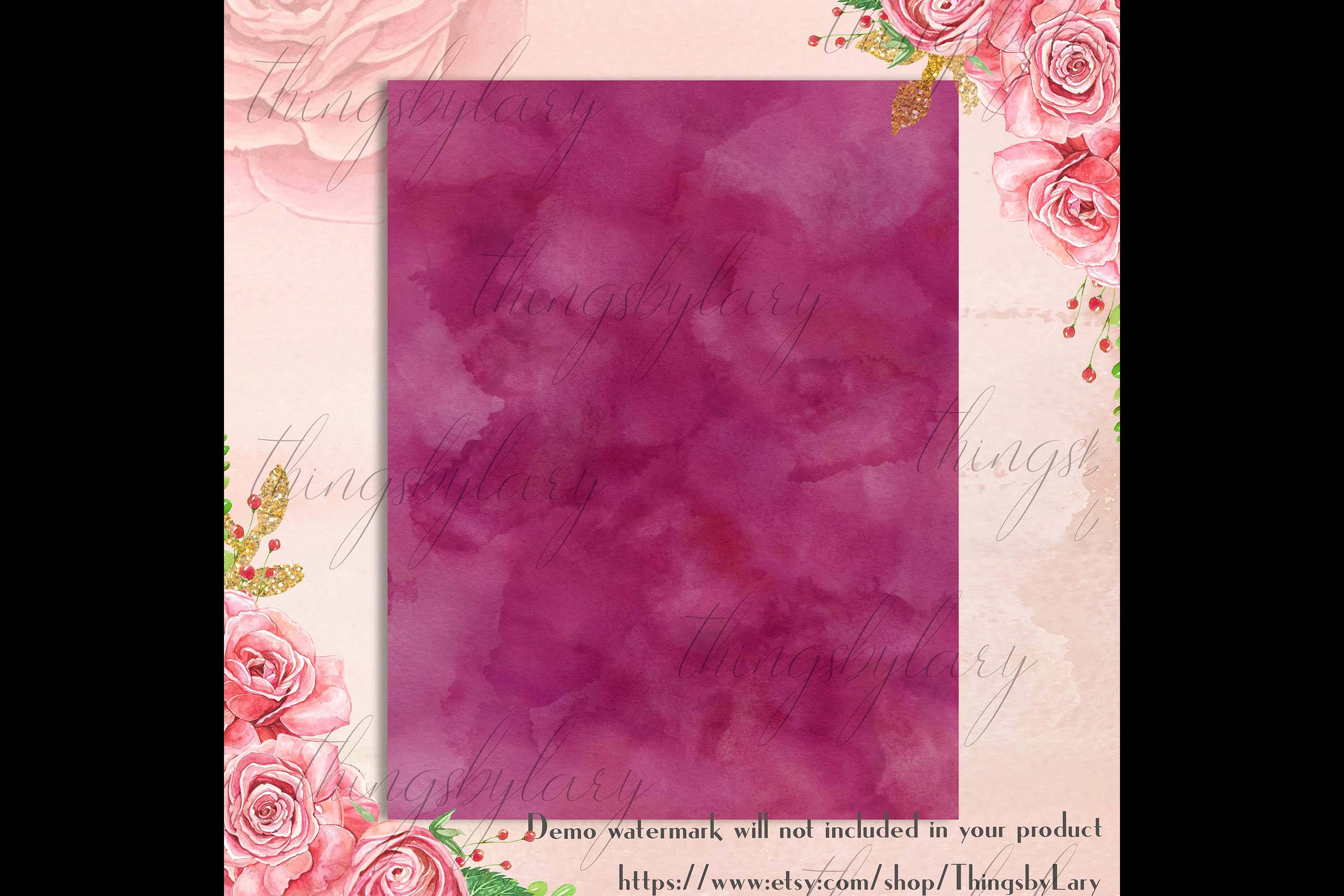 18 Sweet Ombre Watercolor Digital Images Card Invitation example image 4