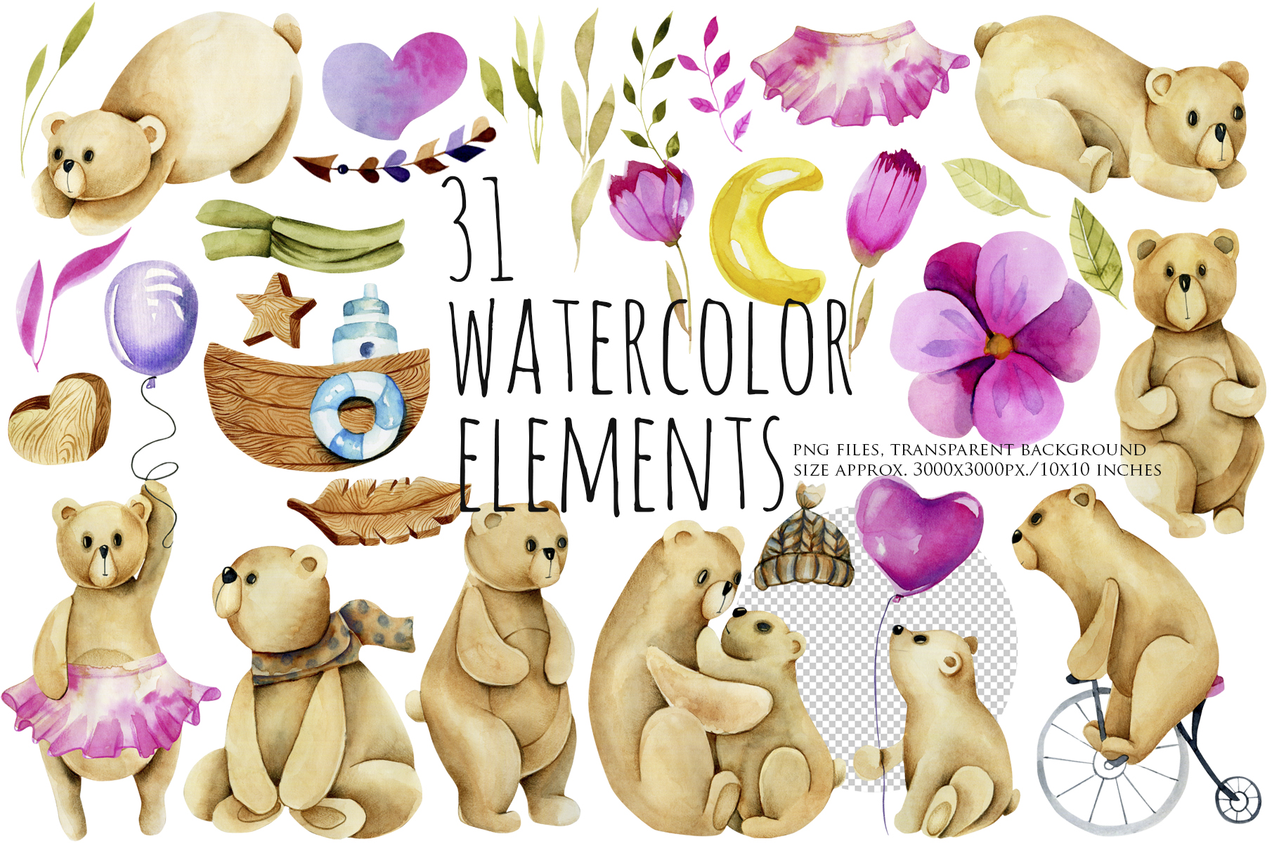 My dear Bears. Watercolor clipart. example image 2