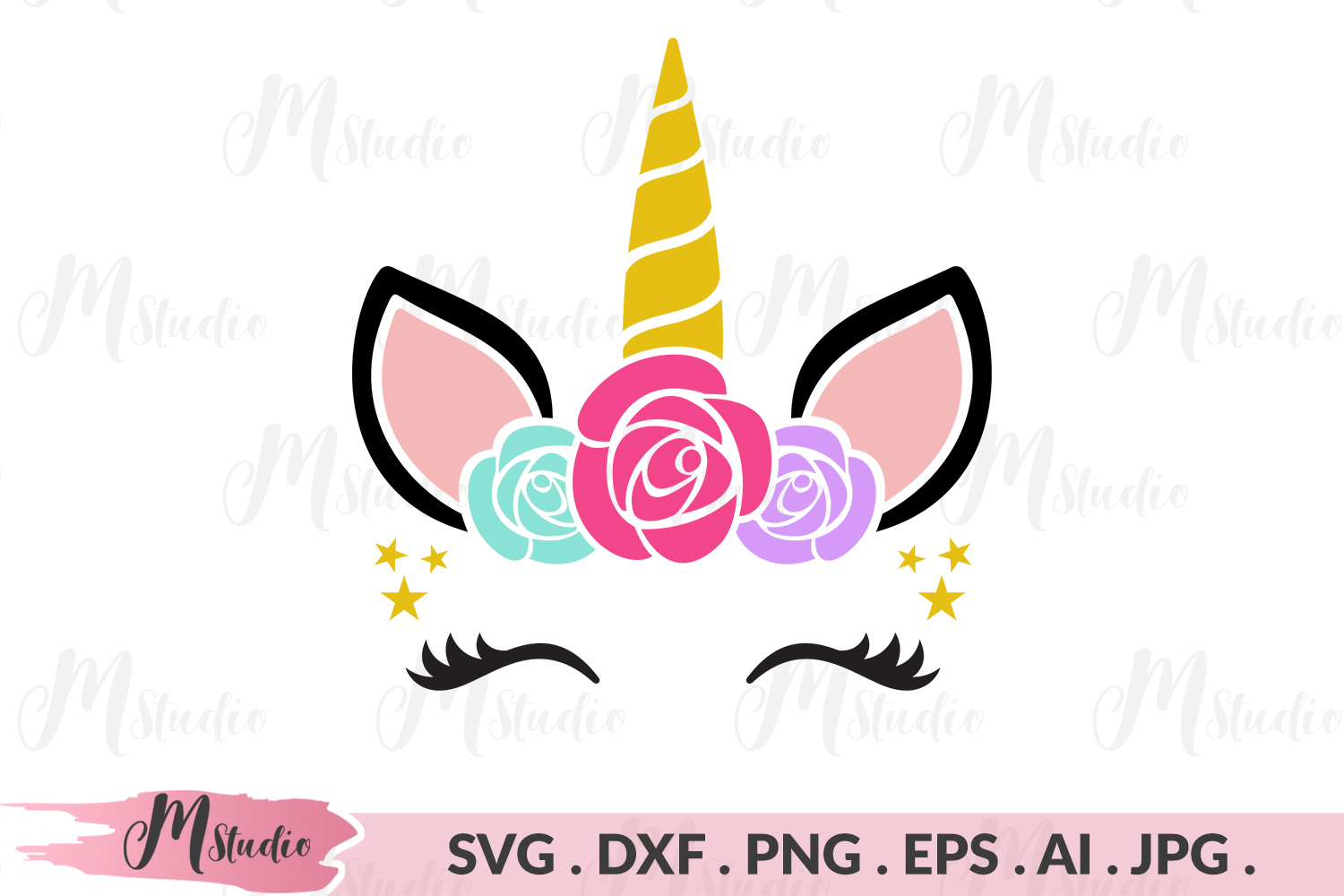 Unicorn Head flowers svg example image 1