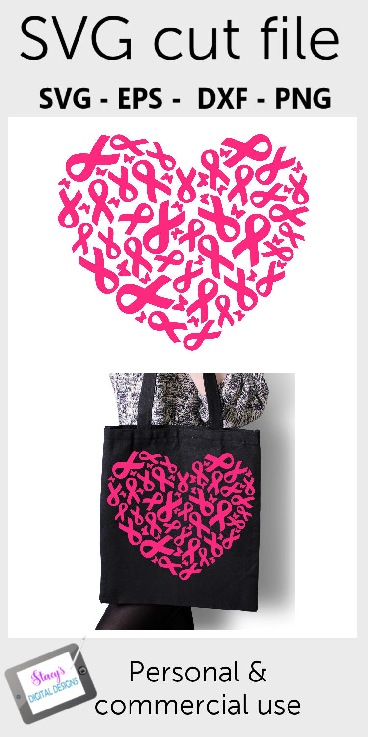 Breast Cancer Awareness SVG - Breast Cancer Ribbons - Heart example image 4