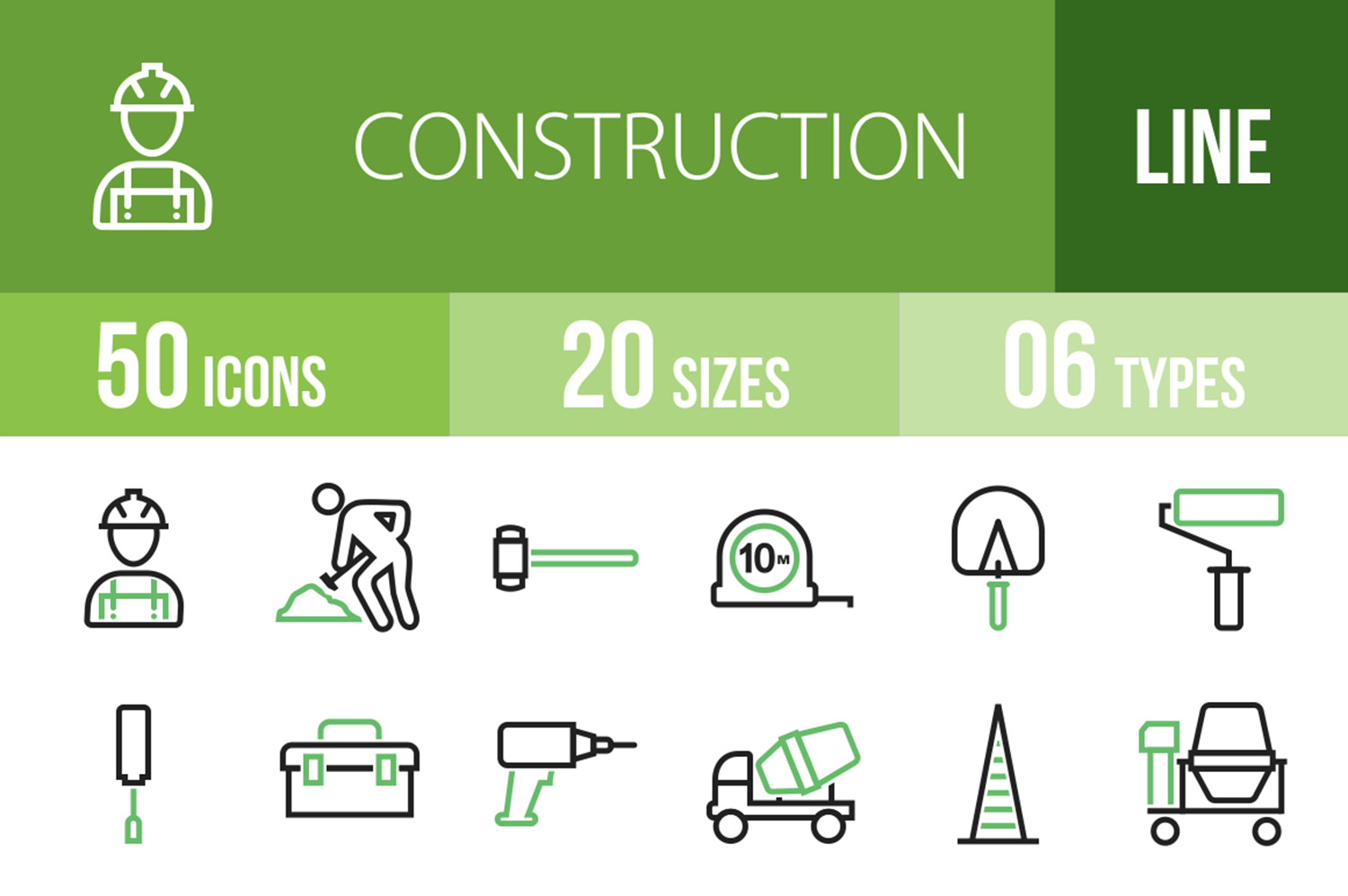 50 Construction Line Green & Black Icons example image 1