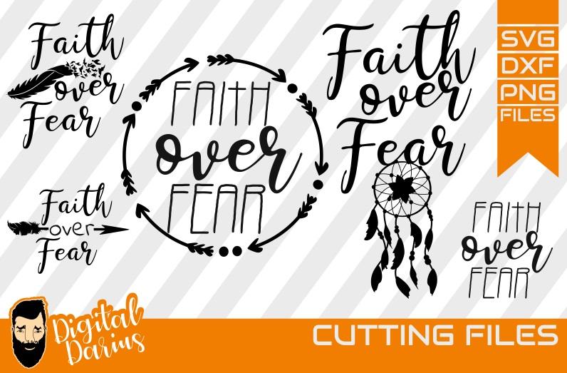 3x Faith over fear Svg, Feather svg, Digital, Dreamcatcher example image 1