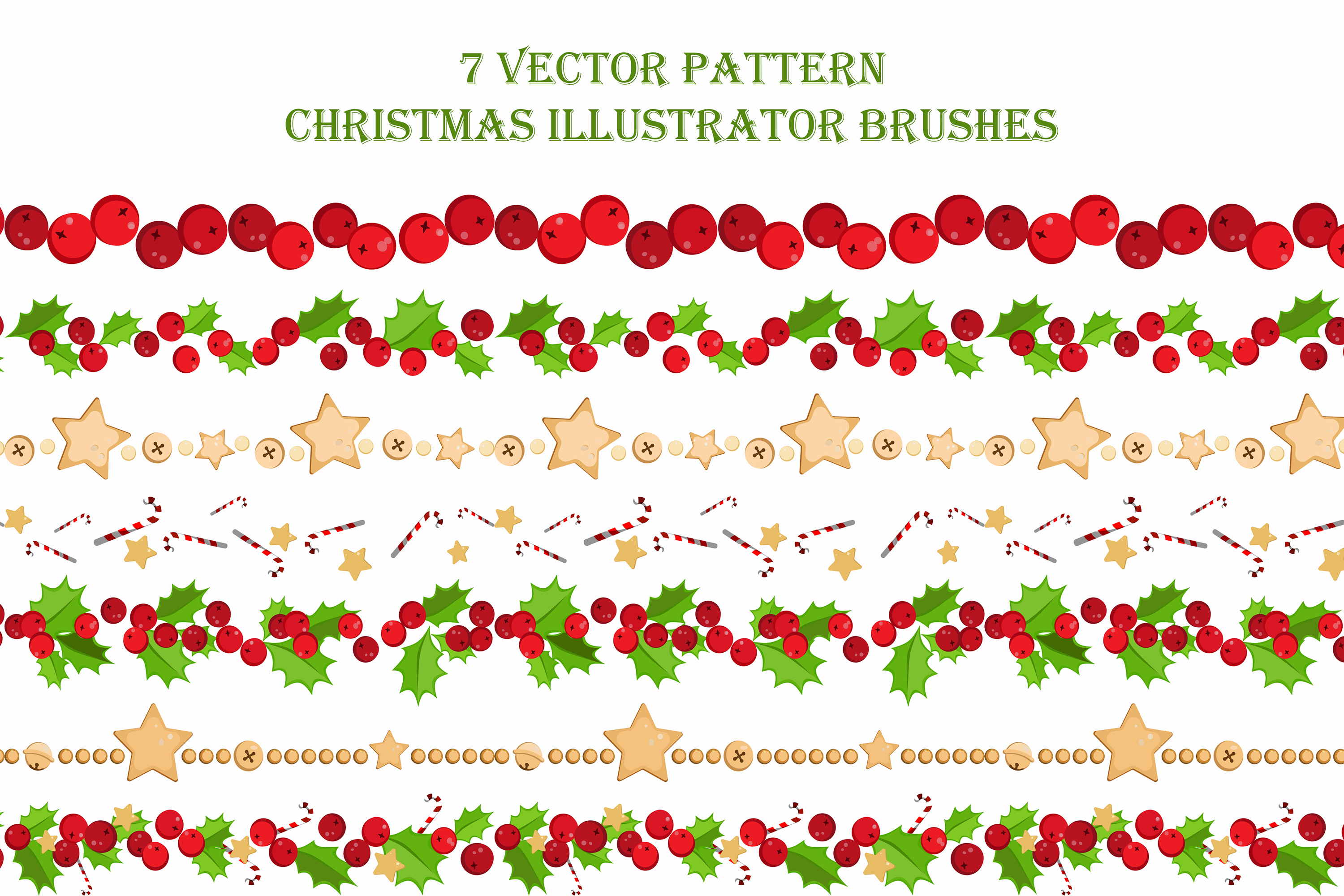 7 Vector Pattern Christmas Brushes example image 3