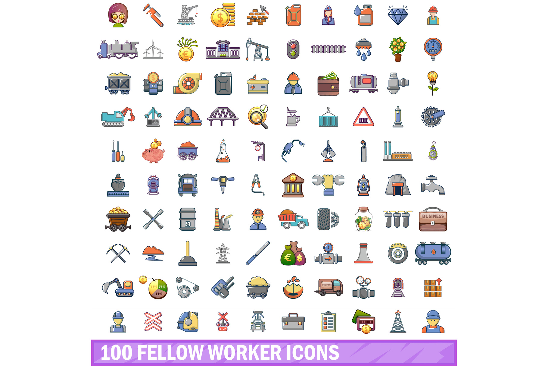 100 fellow worker icons set, cartoon style example image 1