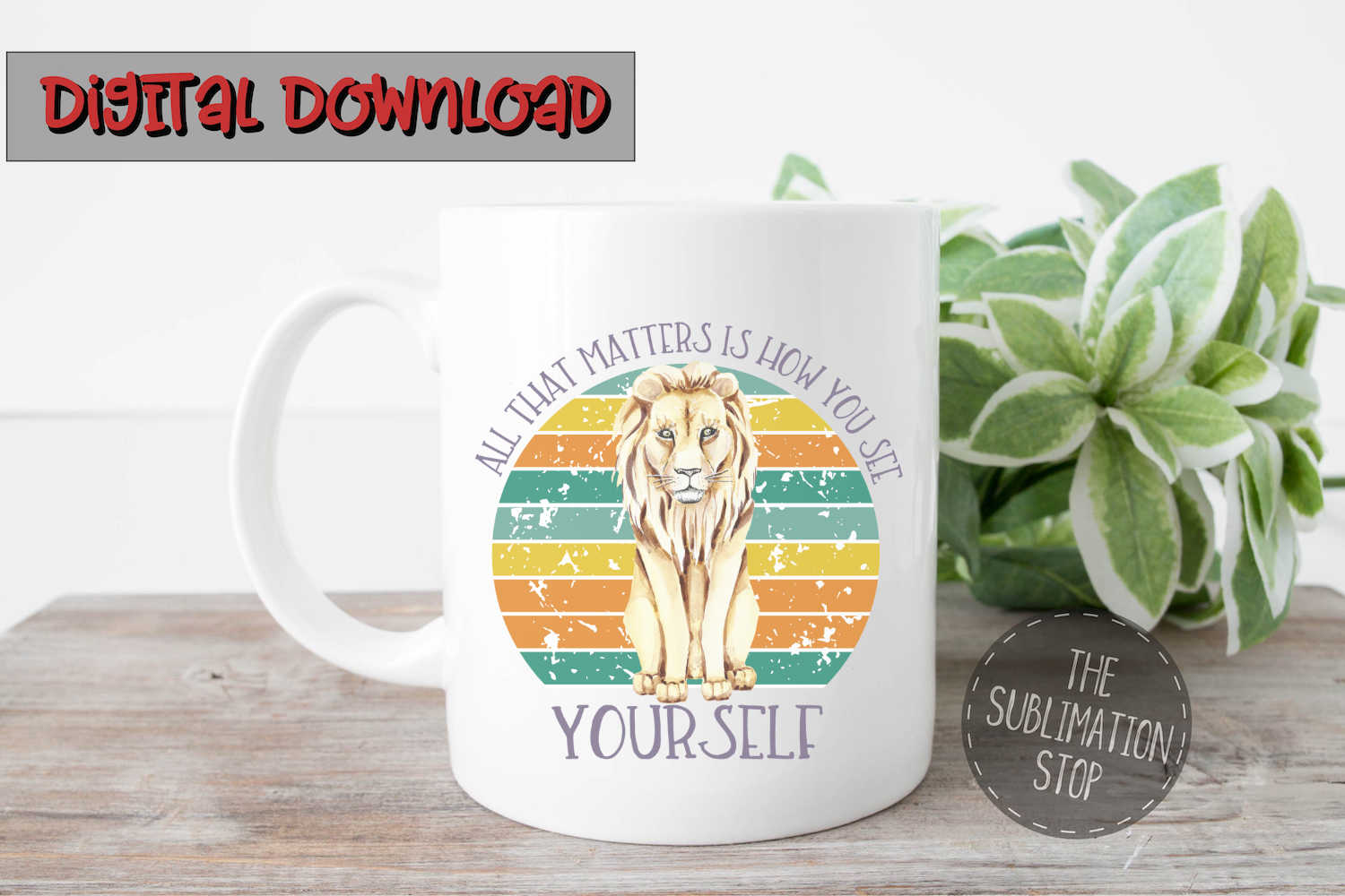 Lion Circle Design Quote - PNG File - Sublimation Design example image 2