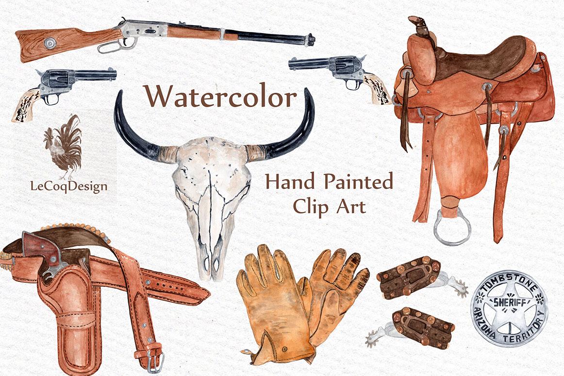 Watercolor Cowboy Clipart example image 2