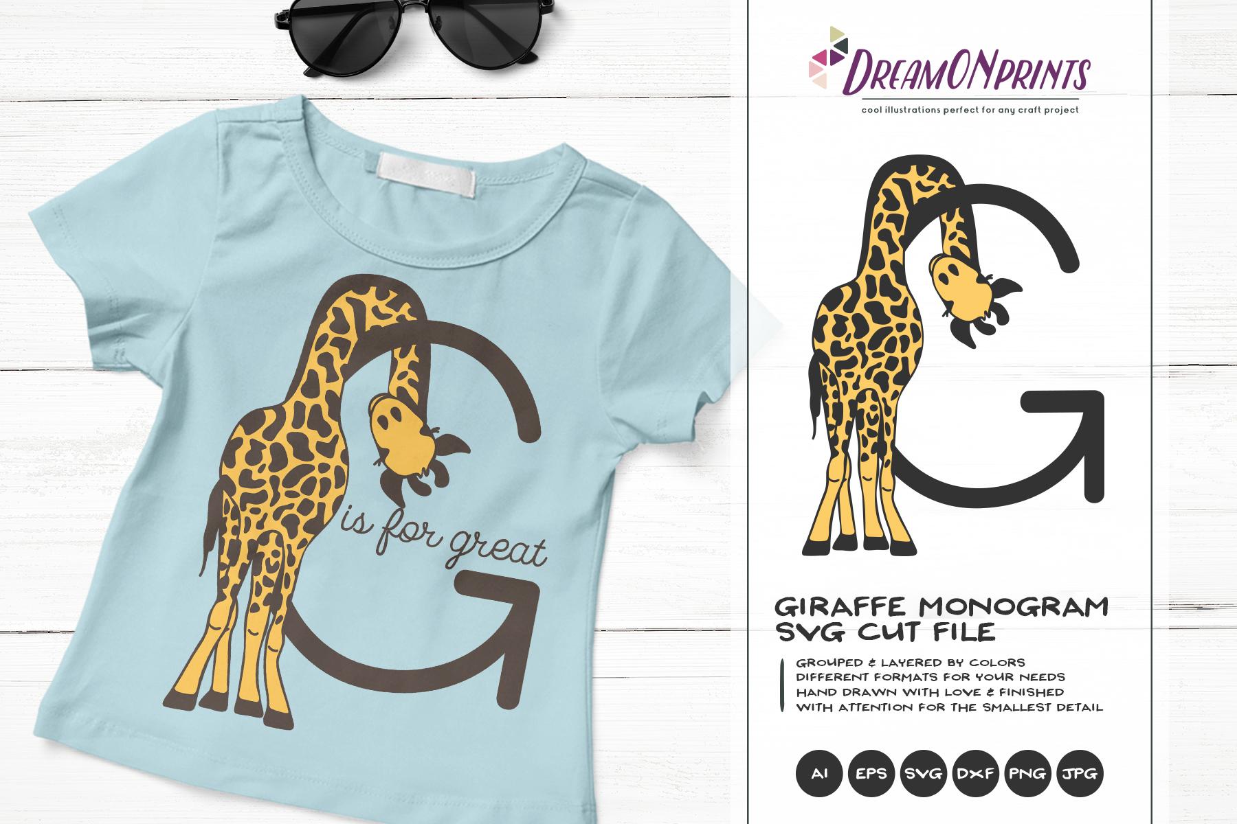 Letter G SVG Cut File | Monogram Letter G with Giraffe example image 1