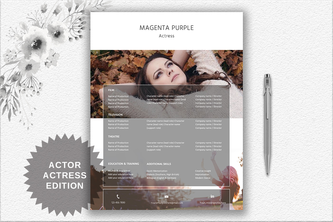 Modern Resume Template | Actor/Actress example image 3