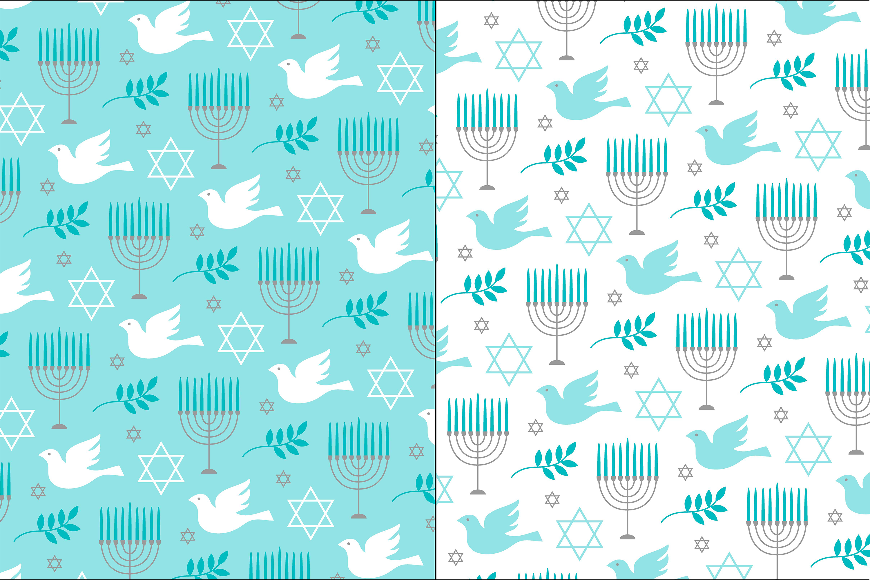 Blue Gray Hanukkah Patterns example image 5