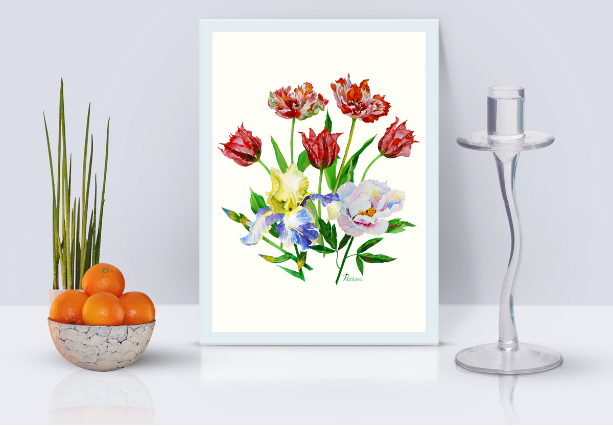 Bouquet with tulips, iris and peony example image 1