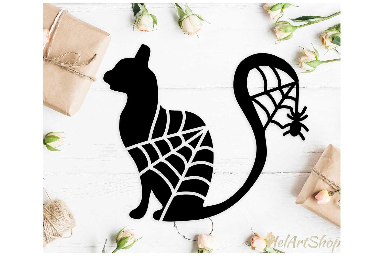 Halloween cat svg, black cat svg, happy halloween svg example image 1