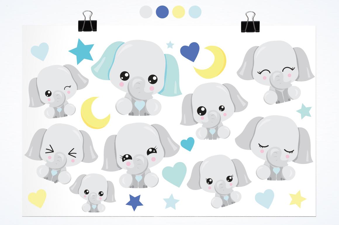 Kawaii Elephant graphics and illustrations example image 3
