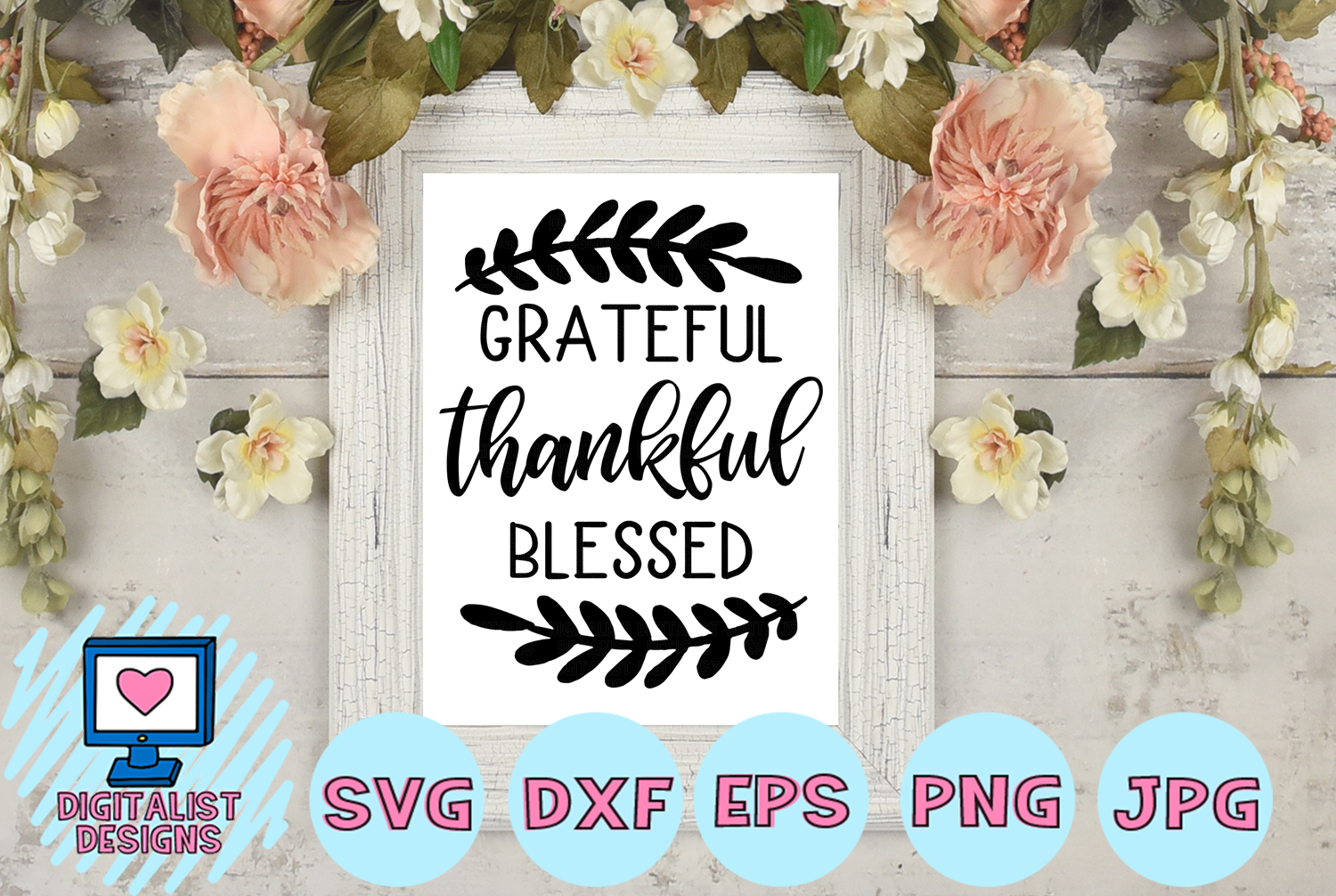 grateful thankful blessed SVG | Thanksgiving SVG example image 1