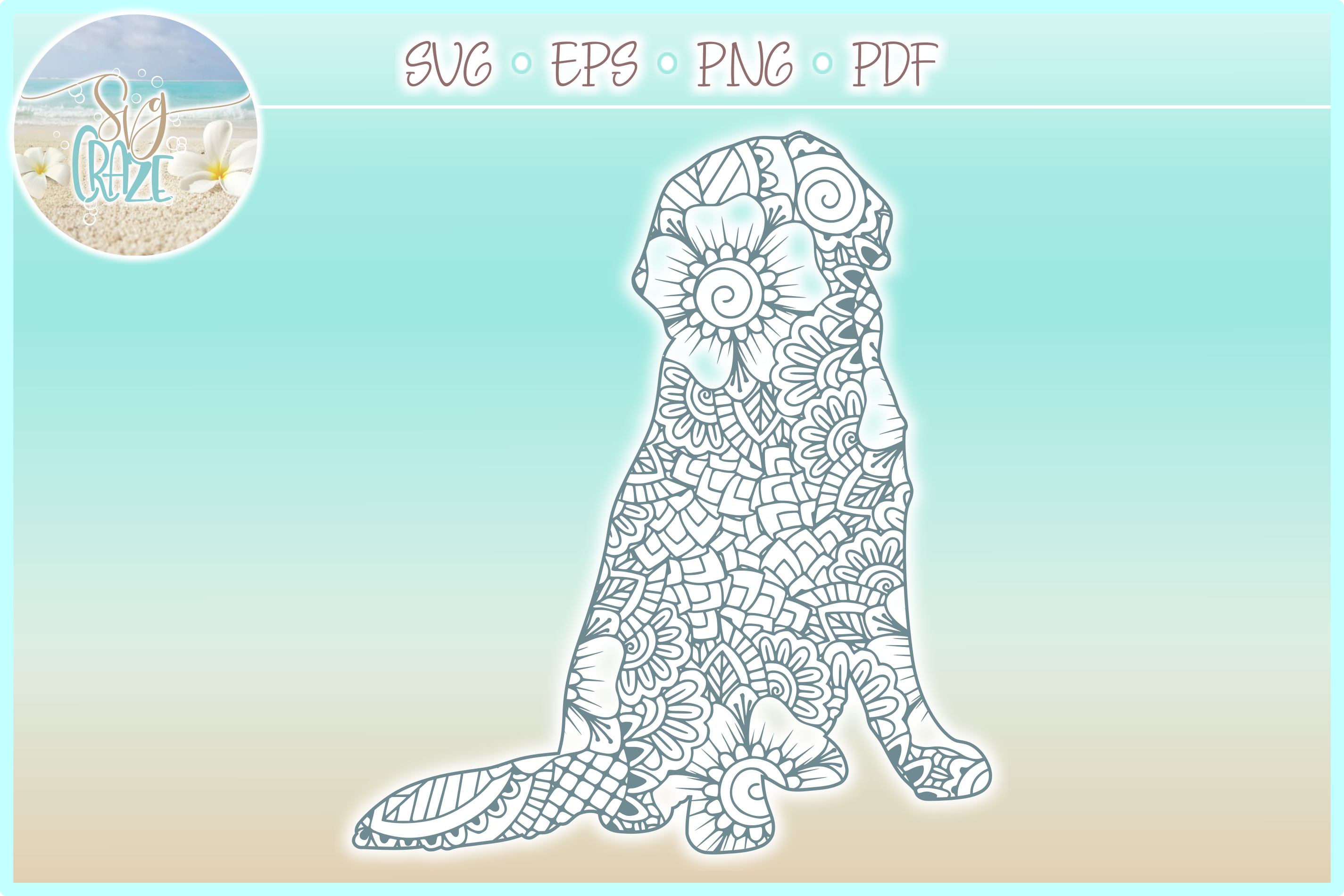 Golden Retriever Mandala Zentangle Bundle SVG Eps Png PDF example image 5