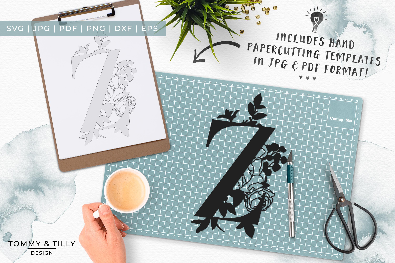 Z Bouquet Letter Design - Paper Cut SVG EPS DXF PNG PDF JPG example image 7