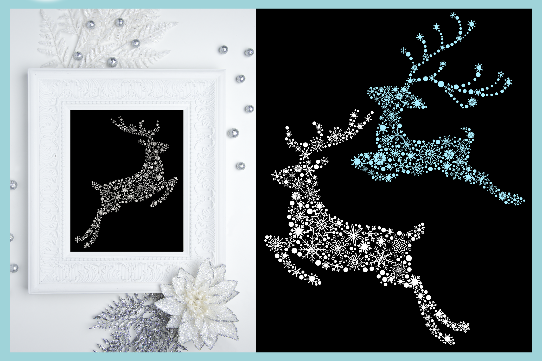 Snowflake Reindeer SVG Dxf Eps Png Pdf Files For Cricut example image 3