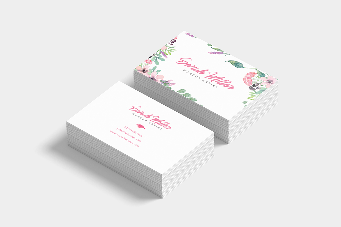 Floral Minimalist Business Card Template example image 6