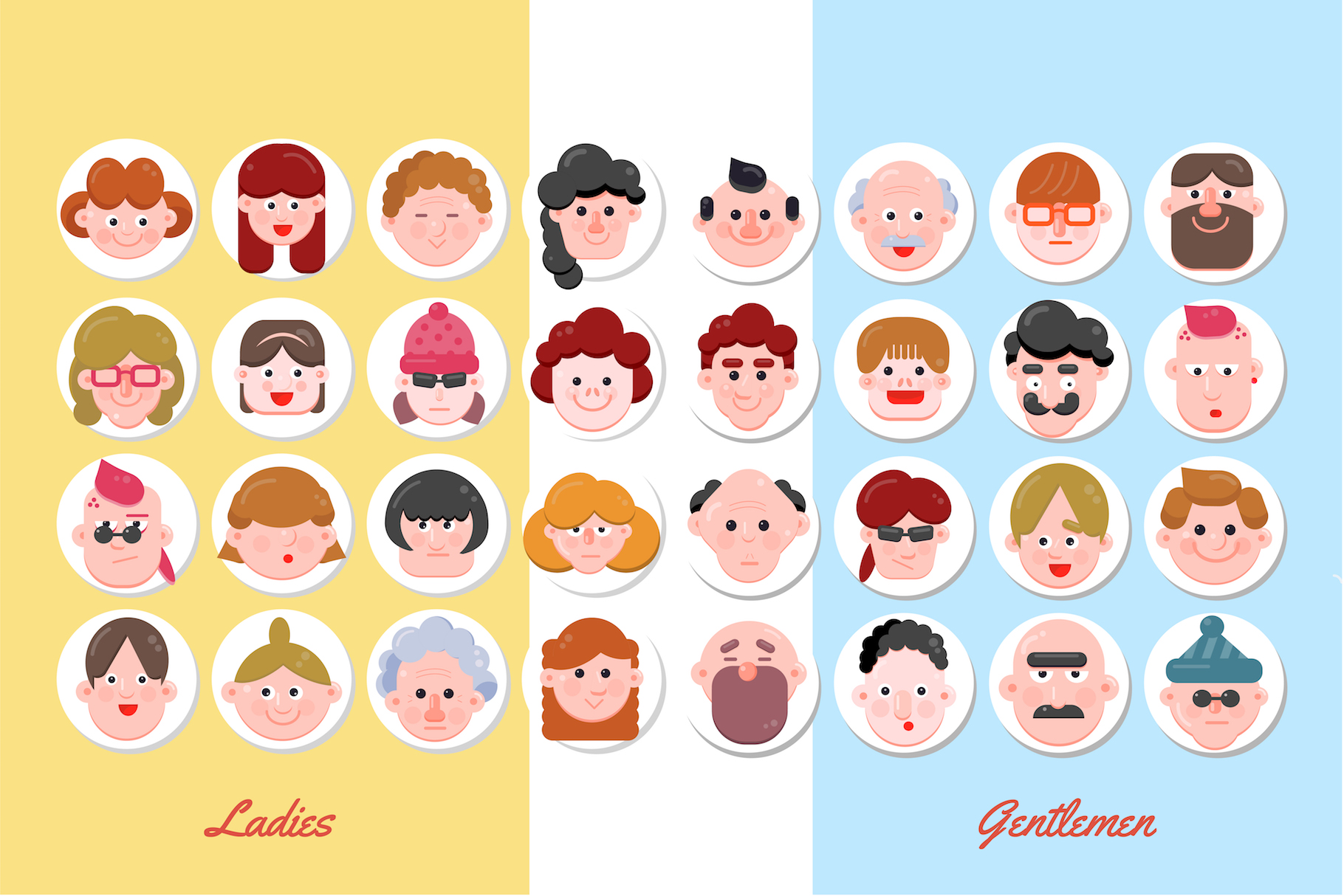 32 Character Faces - Flat Art example image 3