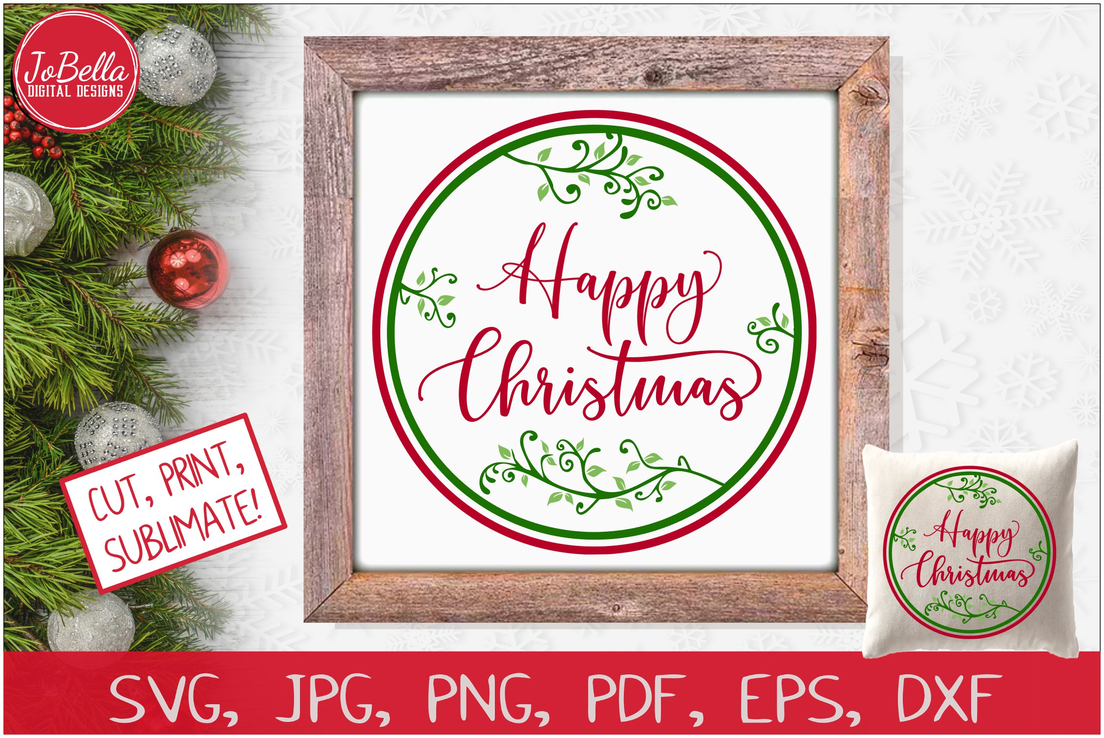 Happy Christmas SVG Printable & Sublimation PNG example image 1
