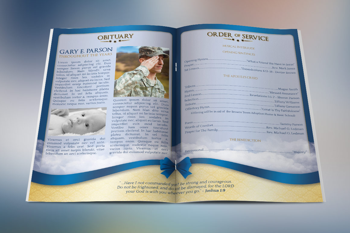 Blue Ribbon Funeral Program Template example image 2