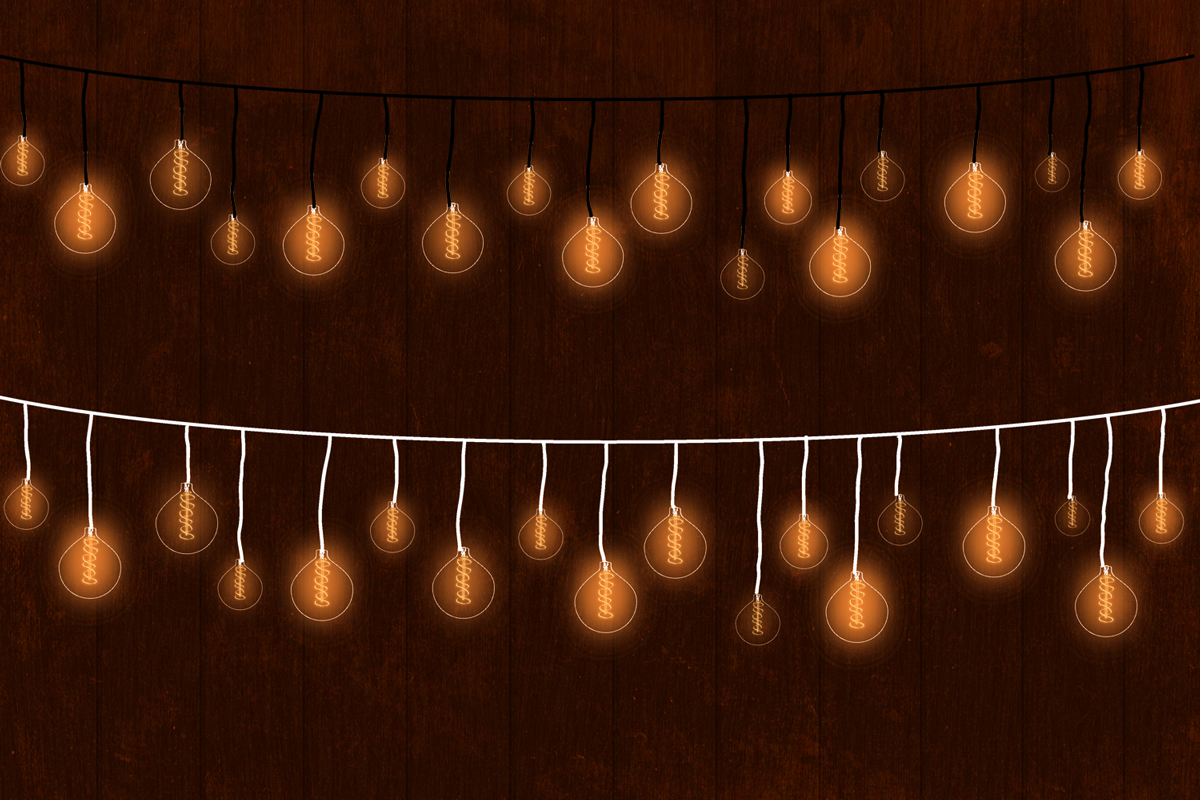 String Lights Clipart, Low Light Bulb, Gold Dreamy Lights example image 4