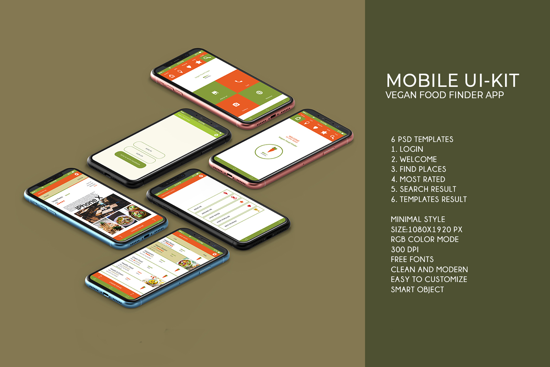 Mobile Ui-Kit | Vegan Food Finder App - 6 PSD Templates example image 4